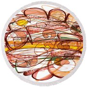 Abstract Pen Drawing Eight Round Beach Towel