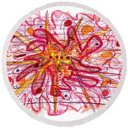 Abstract Pen Drawing Fifteen Round Beach Towel