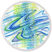 Abstract Pen Drawing Forty Round Beach Towel