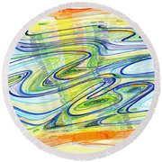 Abstract Pen Drawing Forty-one Round Beach Towel