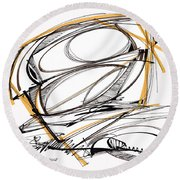 Abstract Pen Drawing Four Round Beach Towel