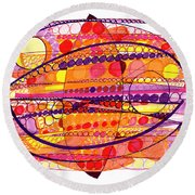 Abstract Pen Drawing Fourteen Round Beach Towel
