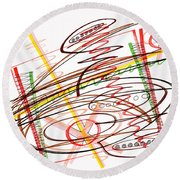 Abstract Pen Drawing Seven Round Beach Towel