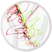 Abstract Pen Drawing Seventy Round Beach Towel