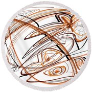 Abstract Pen Drawing Ten Round Beach Towel