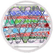 Abstract Pen Drawing Thirteen Round Beach Towel