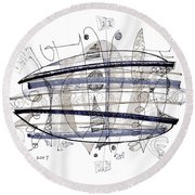 Abstract Pen Drawing Thirty-four Round Beach Towel