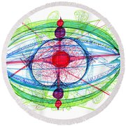 Abstract Pen Drawing Thirty-one Round Beach Towel