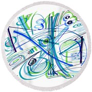 Abstract Pen Drawing Thirty-three Round Beach Towel