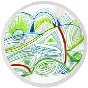 Abstract Pen Drawing Thirty-two Round Beach Towel