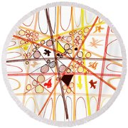 Abstract Pen Drawing Three Round Beach Towel