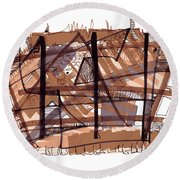 Abstract Pen Drawing Twelve Round Beach Towel