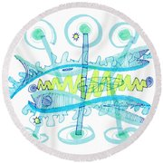 Abstract Pen Drawing Twenty-five Round Beach Towel