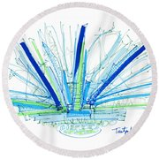 Abstract Pen Drawing Twenty-nine Round Beach Towel