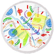 Abstract Pen Drawing Twenty-seven Round Beach Towel