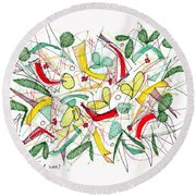 Abstract Pen Drawing Twenty-two Round Beach Towel