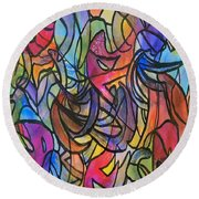 Abstract Pen Round Beach Towel