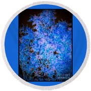 Abstract Pf Tree In Blue And Black Round Beach Towel