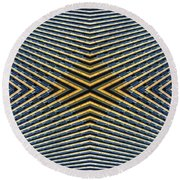 Abstract Photomontage Mid Continental Plaza N132p1 Dsc5528 Round Beach Towel