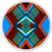 Abstract Photomontage No 3 Round Beach Towel