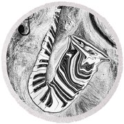 Piano Keys In A Saxophone 2 - Music In Motion Round Beach Towel