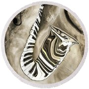 Piano Keys In A Saxophone 3 - Music In Motion Round Beach Towel