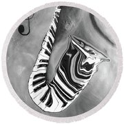 Piano Keys In A Saxophone 4 - Music In Motion Round Beach Towel