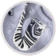 Piano Keys In A Saxophone 5 - Music In Motion Round Beach Towel