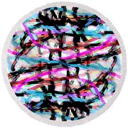 Abstract Pink Round Beach Towel