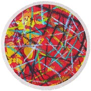 Abstract Pizza 2 Round Beach Towel