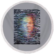 Abstract Portrait Round Beach Towel