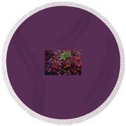 Abstract Purple Flowers Round Beach Towel