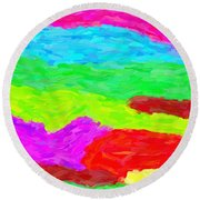 Abstract Rainbow Art By Adam Asar 3 Round Beach Towel