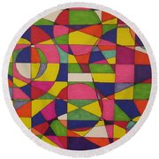 Abstract Rainbow Of Color Round Beach Towel