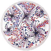 Abstract Red And Blue Design  Round Beach Towel
