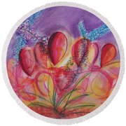 Abstract Red And Purple And Blue Round Beach Towel