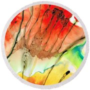 Abstract Red Art - The Promise - Sharon Cummings Round Beach Towel