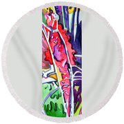 Abstract Red Bud Round Beach Towel
