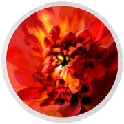 Abstract Red Chrysanthemum Round Beach Towel