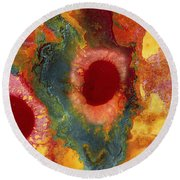 Abstract Red Flower Garden Panoramic Round Beach Towel