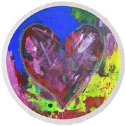 Abstract Red Heart Acrylic Painting Round Beach Towel
