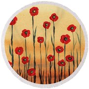 Abstract Red Poppy Field Round Beach Towel