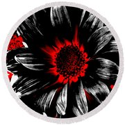 Abstract Red White And Black Daisy Round Beach Towel