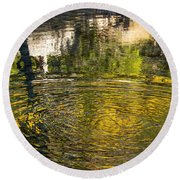 Abstract River Reflection Round Beach Towel