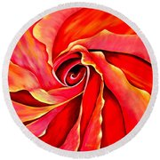 Abstract Rosebud Fire Orange Round Beach Towel
