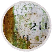 Rust Absract With Stenciled Numbers Round Beach Towel