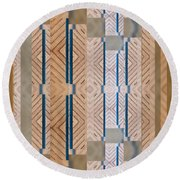 Wood And Blue Round Beach Towel