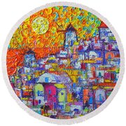 Abstract Santorini Oia Sunset Floral Sky Impressionist Palette Knife Painting  Ana Maria Edulescu Round Beach Towel