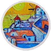 Abstract Santorini Sunset Oia Windmills  Round Beach Towel