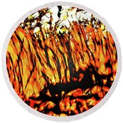 Abstract Saw Grass Iv Round Beach Towel